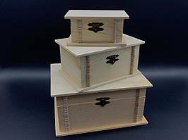 Скринька для декупажу. Три шт/комплект. 19х14х9,5см