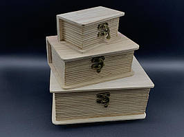 Скринька для декупажу. Три шт/комплект. 20х14,5х8,5см