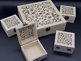 Скринька ПРОРІЗ для декупажу з замком, завісами. 5 шт/комплект. 23х23х7см