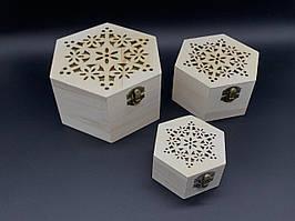 Скринька ПРОРІЗ для декупажу з замком, завісами. Три шт/комплект. 14,5х14,5х9см