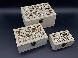 Скринька ПРОРІЗ для декупажу з замком, завісами. Три шт/комплект. 17,5х13х9см