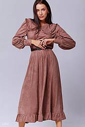 Замшеве сукня з коміром кольору капучіно