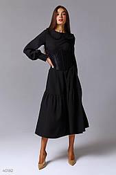 Чорне плаття міді з оборками