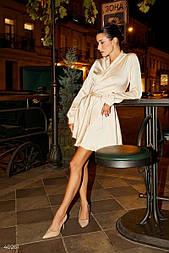 Кремова шовкова сукня на запах