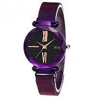 Женские часы звездного неба c магнитным ремешком Starry Sky Watch с римскими цифрами фиолетовый