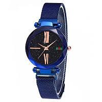 Женские часы звездного неба c магнитным ремешком Starry Sky Watch с римскими цифрами синий