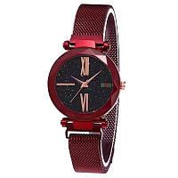 Женские часы звездного неба c магнитным ремешком Starry Sky Watch с римскими цифрами красный