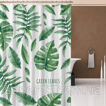 Тканинна шторка для ванної душа 180х200 см Листя