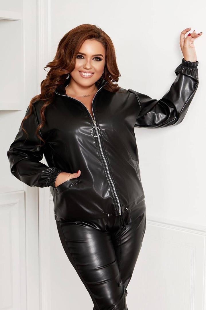Женская черная куртка кожаная, 50, 52, 54,56 (Батал)
