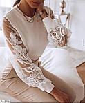 Жіноча блуза рукав мереживо, білий, чорний, фото 2