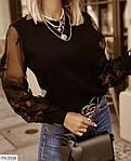 Жіноча блуза рукав мереживо, білий, чорний, фото 3