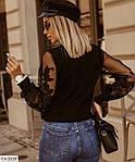 Жіноча блуза рукав мереживо, білий, чорний, фото 4