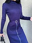Жіноче плаття-утяжка на блискавку, довгий рукав, сірий, синій, фото 3