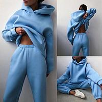 Женский спортивный костюм однотонный двунитка оверсайз, Толстовка худи с капюшоном и штаны