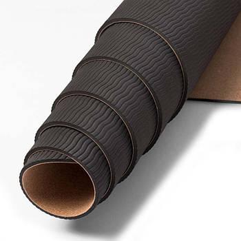Коврик для фитнеса и йоги TPE пробка Dingming YZS-17 1830*610*6mm Чакры на силуете