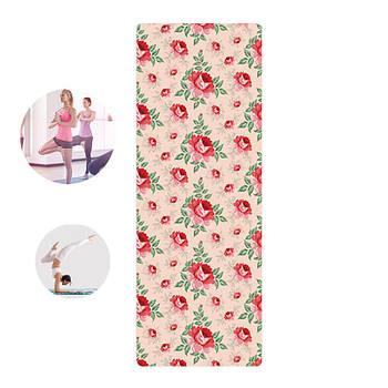 Коврик для фитнеса и йоги Meileer rubb-22 Красные цветы 1830*680*4mm