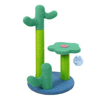 Когтеточка (дряпка) для кота с полкой и игрушкой Taotaopets 045516 Cactus Green 52*31 см