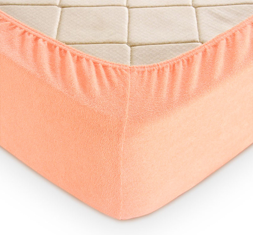 Простирадло махрова на гумці (160х200х30) Peach Nectar