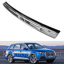 Захисна накладка на задній бампер для Audi Q7 II 2015+ /карбон+нерж.сталь/