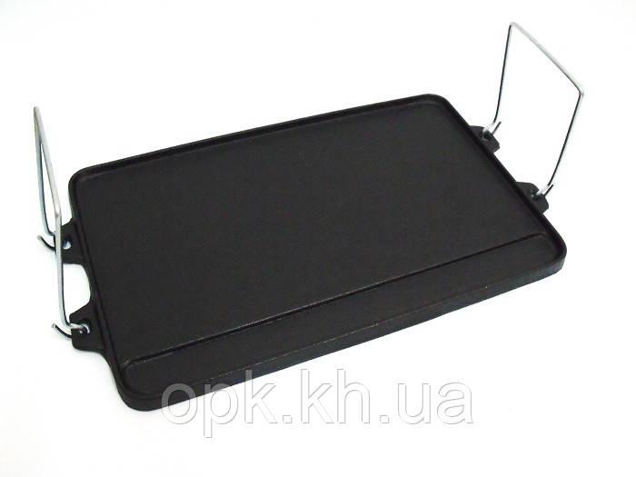Чугунная решетка противень гриль для барбекю и мангал с ручками 400*250 мм Австрия (вес - 3.5 кг)