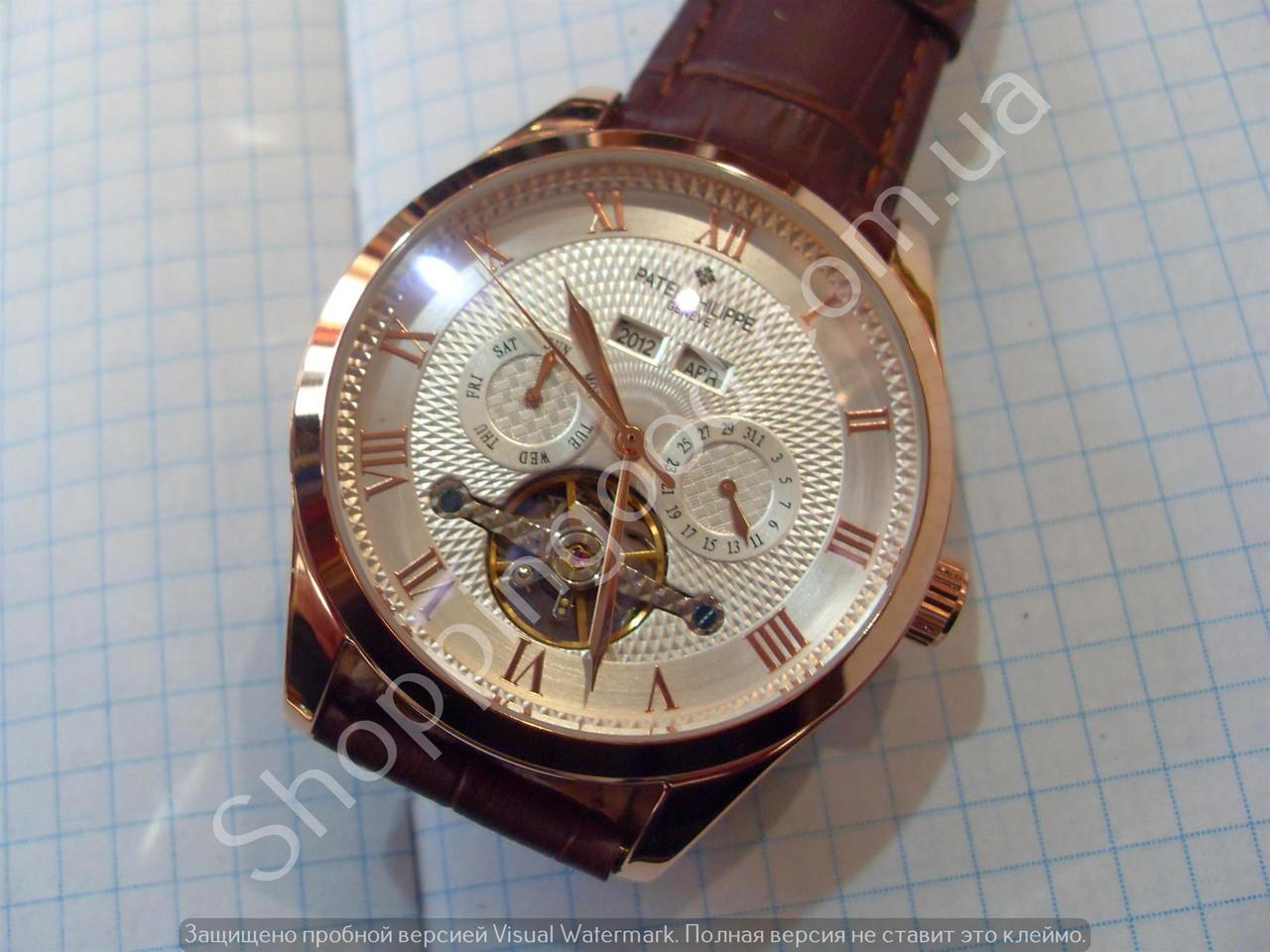 e6bde419 Механические часы Patek Philippe 093 скелетон с автоподзаводом золотистые  на белом циферблате копия