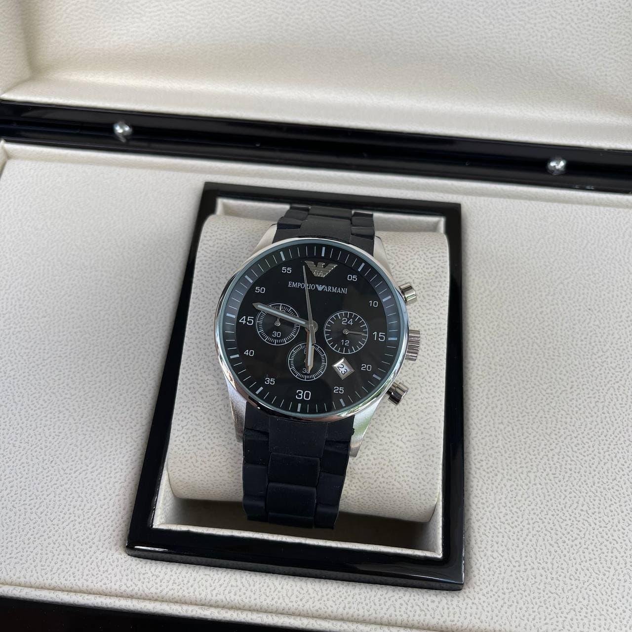 Часы наручные Emporio Armani AR-5905 Silver-Black Silicone