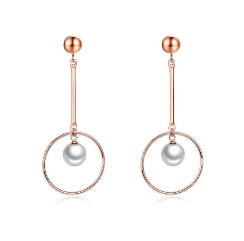 Сережки з перлами Srcoi рожеве золото