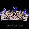 Діадема модна ВЕНЕРА корона в стилі Dolce&Gabbana тіара з синіми каменями, фото 5