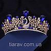 Діадема модна ВЕНЕРА корона в стилі Dolce&Gabbana тіара з синіми каменями, фото 7