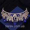 Діадема модна ВЕНЕРА корона в стилі Dolce&Gabbana тіара з синіми каменями, фото 3