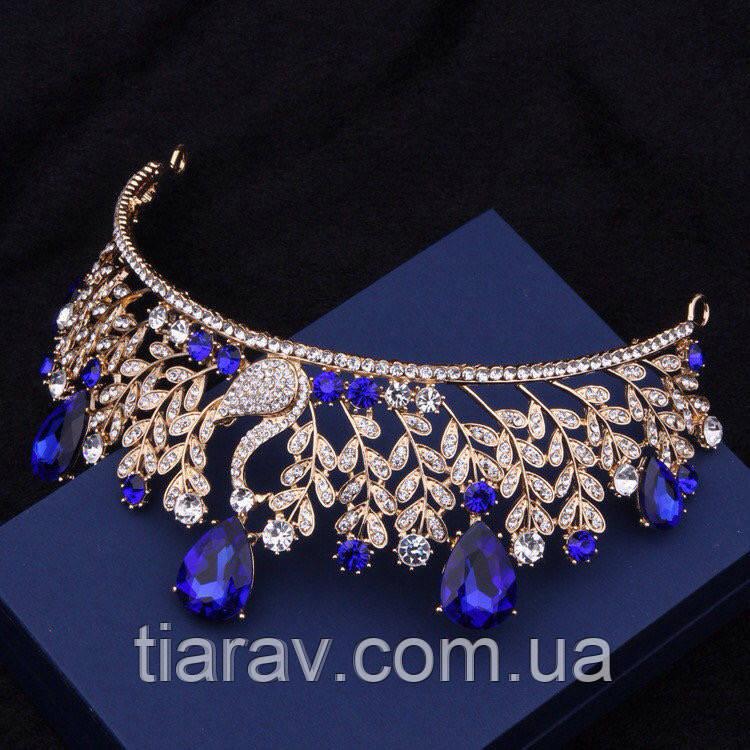 Діадема модна ВЕНЕРА корона в стилі Dolce&Gabbana тіара з синіми каменями