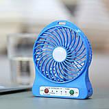 Настільний міні вентилятор на акумуляторі, фото 7