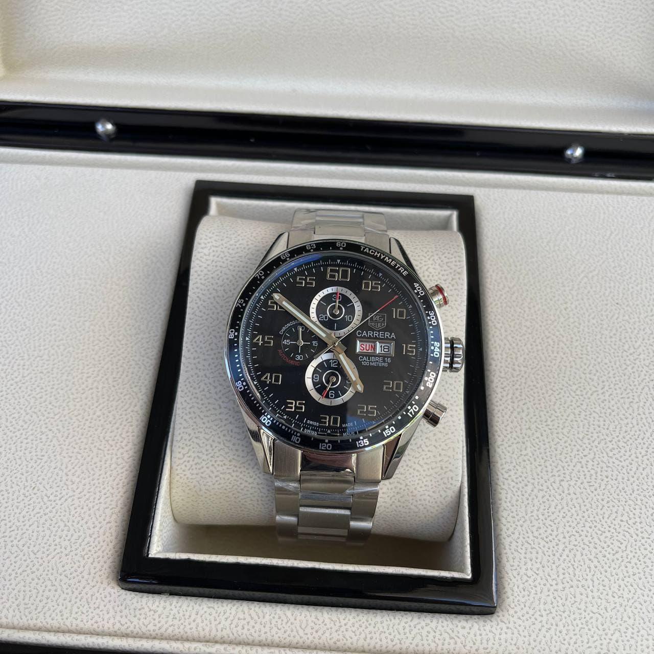 Часы наручные T a g  H e u e r  Carrera Silver-Black премиального ААА класса