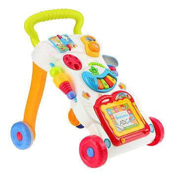 Ходунки музичні каталка Huanger HE0801 для дітей від 9-ти місяців 2 АА Різнобарвний (007646)