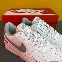 Мужские кроссовки Nike Air Force 1 White/grey мужские Форсы белые низкие кожаные Найк Аир Форс на лето