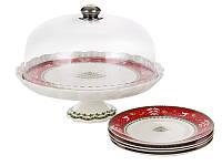 Тортовница фарфоровая Новогодняя + 4 тарелки 943-189. Новогодняя посуда