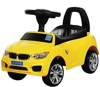 Дитяча машинка Bambi BMW M 3147B-6 каталка-толокар Жовта пластикова