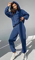 Спортивный женский теплый костюм трех нитка на флисе, свободного кроя oversize, синий размер М-XL, фото 1