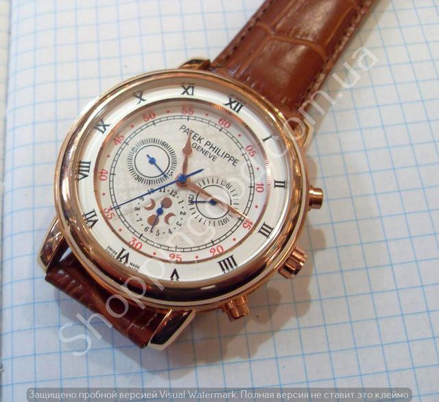 78f562b4 Необычные мужские механические часы Patek Philippe P8300 скелетон с  автоподзаводом на коричневом ремешке из искусственной кожи в корпусе  золотистого цвета.