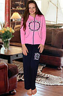 Тёплая пижама (кофта и брюки) (Розовый)