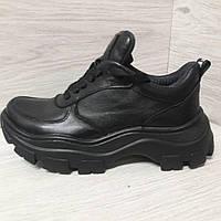 Черные женские кожаные кроссовки. Чорні жіночі шкіряні кросівки.