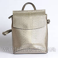 Жіночий сріблястий рюкзак-сумка з натуральної шкіри під зміїну шкіру з клапаном Tiding Bag - 98790, фото 2