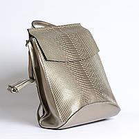 Жіночий сріблястий рюкзак-сумка з натуральної шкіри під зміїну шкіру з клапаном Tiding Bag - 98790, фото 3