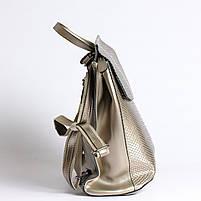 Жіночий сріблястий рюкзак-сумка з натуральної шкіри під зміїну шкіру з клапаном Tiding Bag - 98790, фото 4