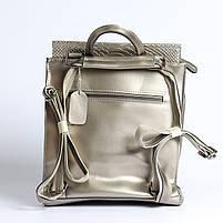 Жіночий сріблястий рюкзак-сумка з натуральної шкіри під зміїну шкіру з клапаном Tiding Bag - 98790, фото 5