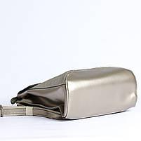 Жіночий сріблястий рюкзак-сумка з натуральної шкіри під зміїну шкіру з клапаном Tiding Bag - 98790, фото 7