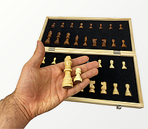 Класичні шахи з магнітом з дерева (39див x 39див) підходять на подарунок, фото 2