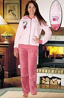 Махровый костюм (кофта и брюки) (Розовый)