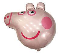 Фольгированный шар фигурный Свинка Пеппа голова 84х78 см (Китай) в упаковке