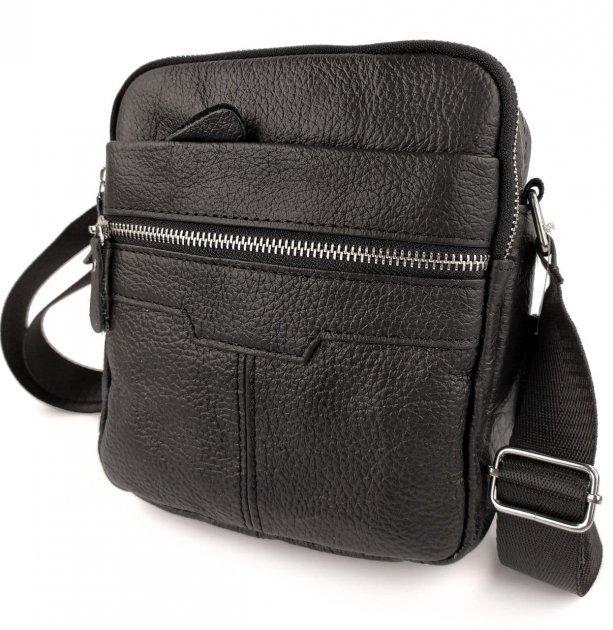 Чоловіча сумка месенджер шкіряна через плече Tiding Bag чорна з натуральної шкіри